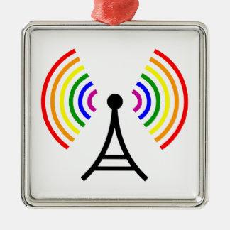 Gay Wifi Rainbow Signal Antenna Metal Ornament
