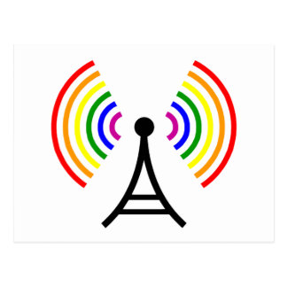 Gay Wifi Rainbow Signal Antenna Postcard