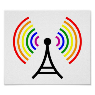 Gay Wifi Rainbow Signal Antenna Poster