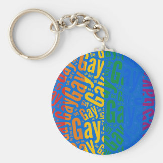 GAY WORD PATTERN COLOR -.png Keychain