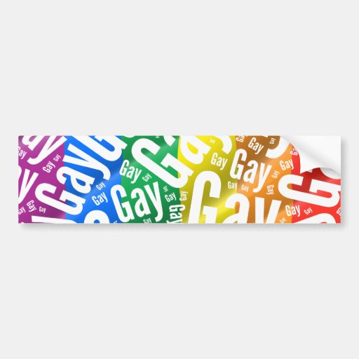 GAY WORD PATTERN WHITE -.png Bumper Stickers