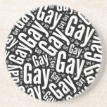 GAY WORD PATTERN WHITE -.png Drink Coaster