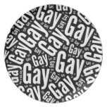 GAY WORD PATTERN WHITE -.png Party Plate