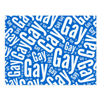 GAY WORD PATTERN WHITE -.png Postcard