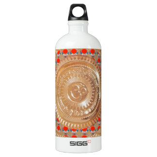 GAYATRI Mantra n OmMantra Symbol Embossed GOLD Aluminum Water Bottle