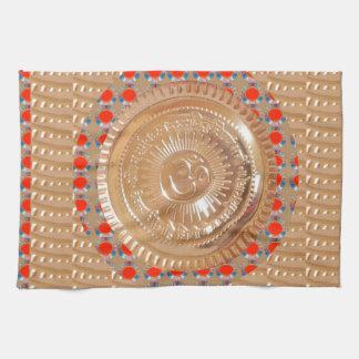 GAYATRI Mantra n OmMantra Symbol Embossed GOLD Towel