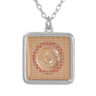 GAYATRI Mantra n OmMantra Symbol Embossed GOLD Square Pendant Necklace
