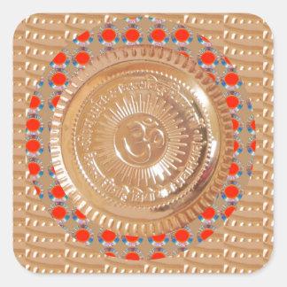 GAYATRI Mantra n OmMantra Symbol Embossed GOLD Square Sticker