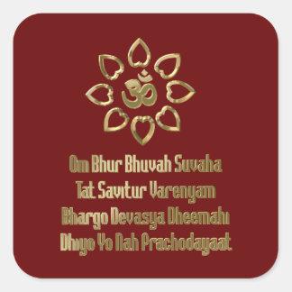Gayatri mantra square sticker