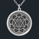 """Gayatri Yantra Necklace Talisman<br><div class=""""desc"""">Gayatri Yantra - This symbol represents the illumined mind and far-sighted wisdom. Representing the words and sounds of the Gayatri Mantra, one of the most powerful Vedic affirmations, it removes the possibility of making wrong choices in life by empowering all truth. Calling upon Infinite Creation to enlighten all living beings,...</div>"""