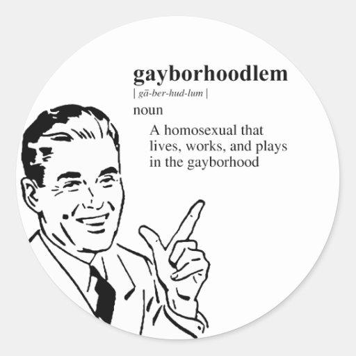 GAYBORHOODLEM CLASSIC ROUND STICKER