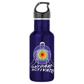 Gaydar! Activate! Rainbow Gay Stainless Steel Water Bottle