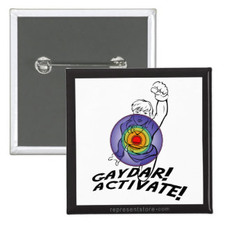 Gaydar! Activate! Rainbow Lesbian 2 Inch Square Button