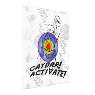 Gaydar! Activate! Rainbow Lesbian Stretched Canvas Prints