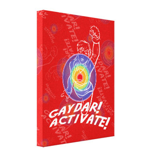 Gaydar! Activate! Rainbow Lesbian Stretched Canvas Print