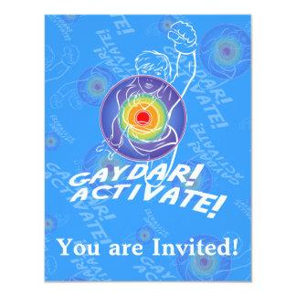 Gaydar! Activate! Rainbow Lesbian 4.25x5.5 Paper Invitation Card