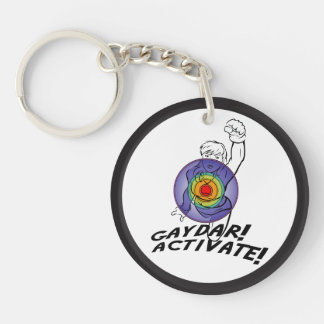 Gaydar! Activate! Rainbow Lesbian Keychain