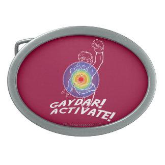 Gaydar! Activate! Rainbow Lesbian Oval Belt Buckle