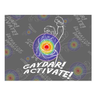Gaydar! Activate! Rainbow Lesbian Postcard