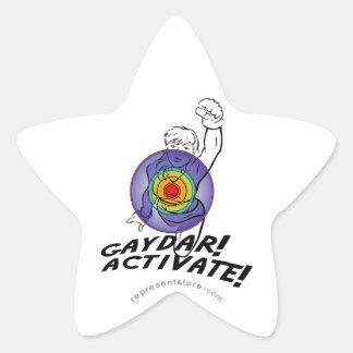 Gaydar! Activate! Rainbow Lesbian Star Sticker
