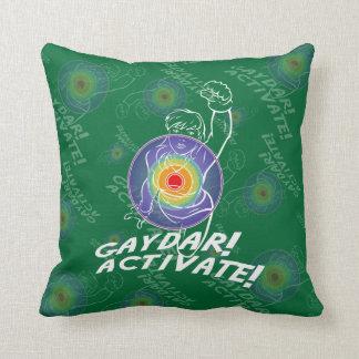 Gaydar! Activate! Rainbow Lesbian Throw Pillow