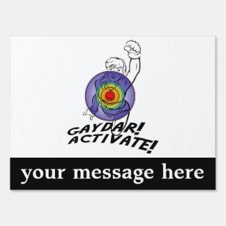 Gaydar! Activate! Rainbow Lesbian Yard Sign