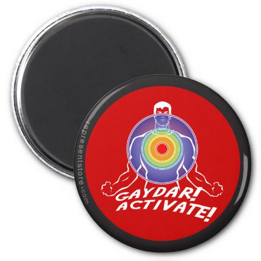 ¡Gaydar! ¡Active! Gay del arco iris Imán Redondo 5 Cm