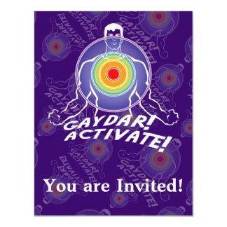 """¡Gaydar! ¡Active! Gay del arco iris Invitación 4.25"""" X 5.5"""""""