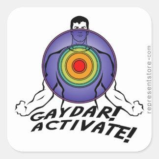 ¡Gaydar! ¡Active! Gay del arco iris Pegatina Cuadrada