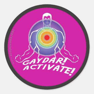 ¡Gaydar! ¡Active! Gay del arco iris Pegatina Redonda