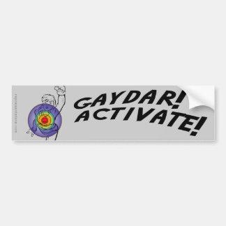 ¡Gaydar! ¡Active! Lesbiana del arco iris Etiqueta De Parachoque