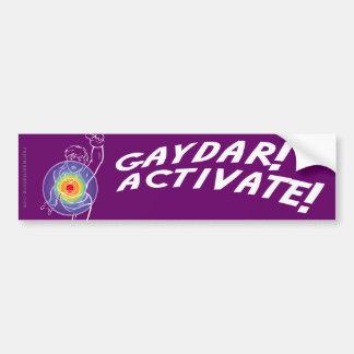 ¡Gaydar! ¡Active! Lesbiana del arco iris Pegatina De Parachoque