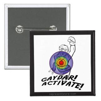 ¡Gaydar! ¡Active! Lesbiana del arco iris Pin Cuadrada 5 Cm