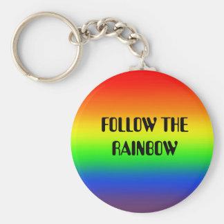 gayFlag-1, FOLLOW THE RAINBOW Basic Round Button Keychain