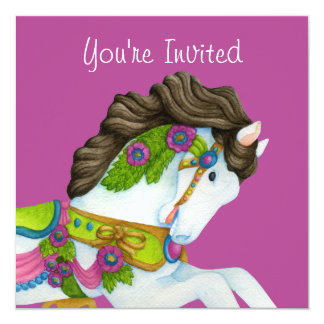 "Gayle Carousel Horse Invitation 5.25"" Square Invitation Card"