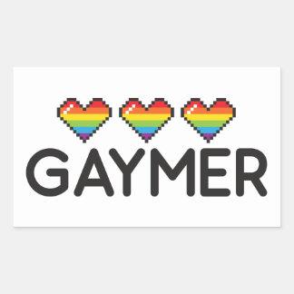 Gaymer Funny Nerdy LGBT Pride Hearts Rectangular Sticker