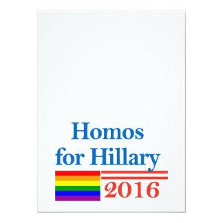 """Gays para Hillary Clinton Invitación 5.5"""" X 7.5"""""""