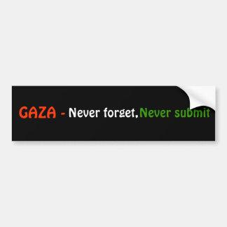 GAZA -, nunca olvide, nunca someten Pegatina Para Auto