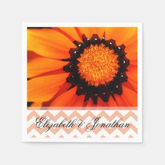 Gazania and Orange Chevron Wedding Paper Napkin