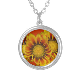 Gazania Daisies Round Pendant Necklace