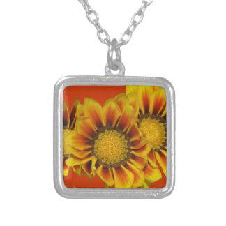 Gazania Daisies Square Pendant Necklace