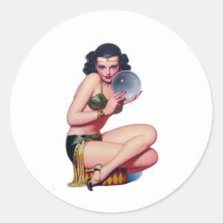 Gaze into the Crystal Ball Classic Round Sticker