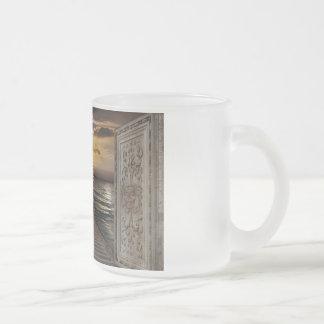 Gaze toward heavens frosted glass coffee mug