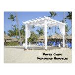 gazebo blanco en la playa tarjeta postal