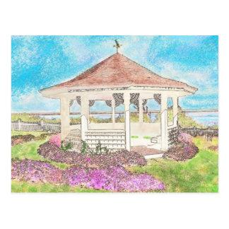 Gazebo blanco pintado en Cape Cod Postales