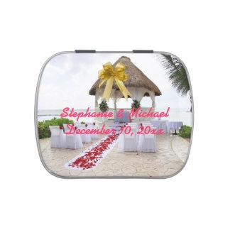 Gazebo en la lata del caramelo del boda de playa frascos de caramelos