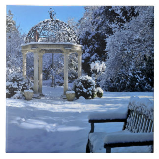 Gazebo en la nieve azulejo cuadrado grande