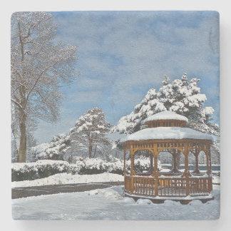 """""""GAZEBO IN SNOW"""" STONE COASTER"""