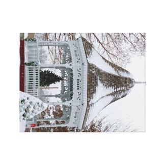 Gazebo in the Snow Canvas Print