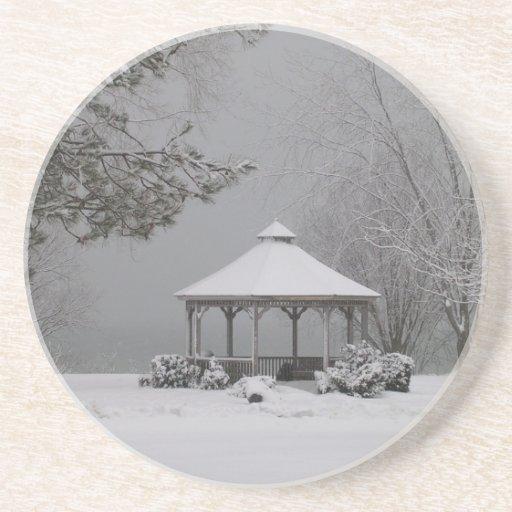 Gazebo in Winter Drink Coaster